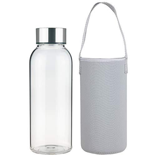 FCSDETAIL Sport Bottiglia di Acqua in Vetro, Borraccia in Vetro Borosilicato con Custodia in Neoprene con Coperchio in Acciaio Inox 1500ml