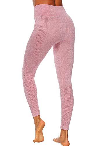 FITTOO Leggings Sin Costuras Mujer de Alta Cintura Yoga Elásticos y Compresivo Fitness Rosa-3 Small (Ropa Deportiva De Dama)