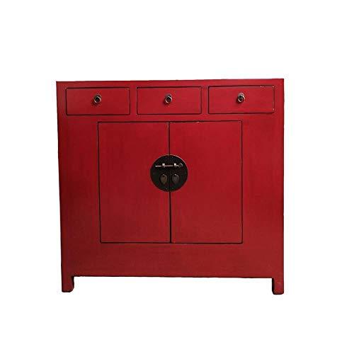 Etnicart - Credenza Cinese Rossa con Tre cassetti-110x105x45-Mobile in Legno per Ingresso Soggiorno Cucina Bagno e Camera
