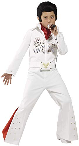 Elvis Kostüm Weiß mit Overall und Schal, Large - 10 bis 12 - Bis Paare Kostüm