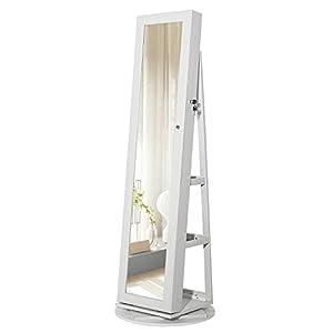 SONGMICS Schmuckschrank mit 160 cm hohem Spiegel abschließbar um 360°drehbar mit Leiterregal JBC62W