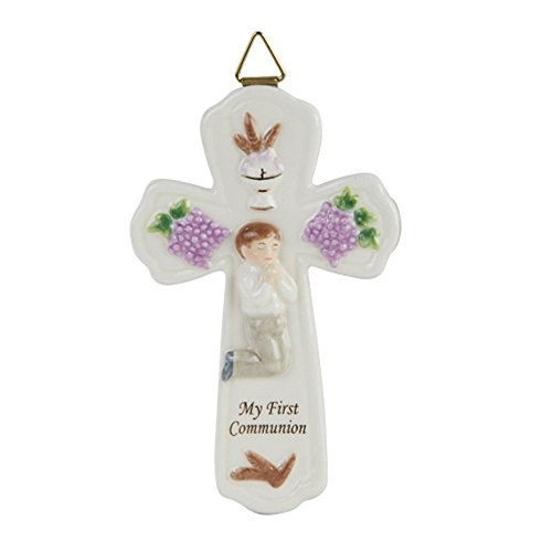 Pacific Giftware My First Communion Little Boy Kreuz Statue feines, Porzellan Figur, 17,1cm W