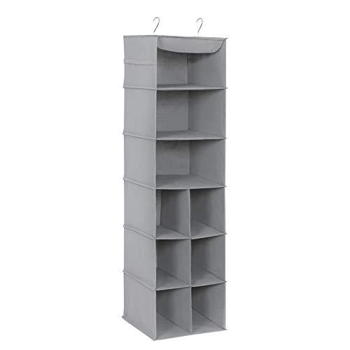 Songmics scarpiera da appendere, organizzatore sospeso per l'interno dell'armadio, con 9 scompartimenti per scarpe di diverse misure, con strutture metalliche, grigio rch05g