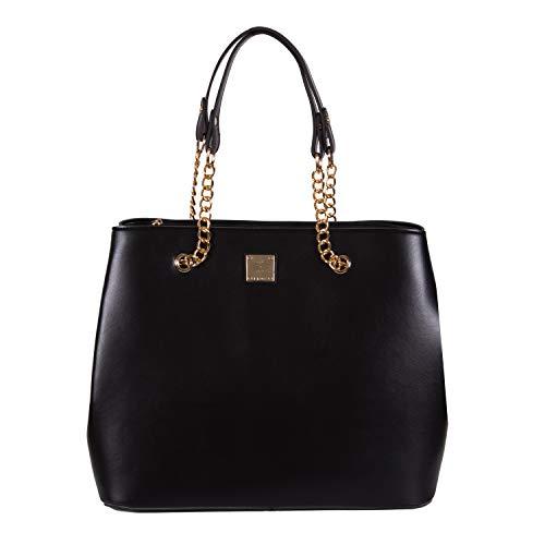 Henkeltasche Damen als modische Tote-Bag   Handtasche elegant als Schultertasche   Große Damen-Handtasche vegan mit viel Platz   Handtasche A4 von Gio&Mi (Schwarz)