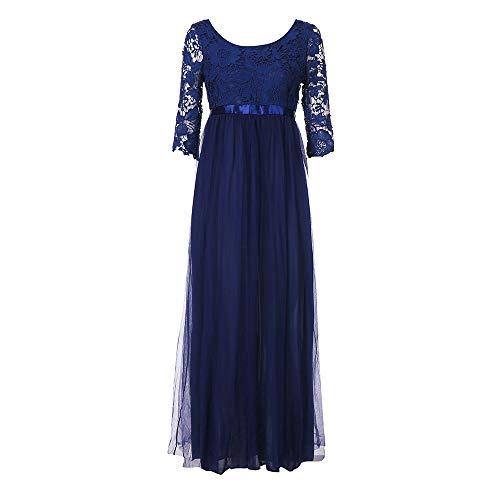 TEBAISE Sommer Damen Elegant Spitzen Ballkleid 2/3 Arm Vintage Chiffon Kleid Party Abendkleid Abschlusskleider Brautjungferkleid Karneval Businesskleid Cocktailkleider -