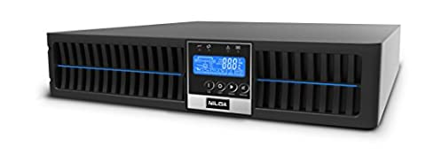 Nilox Online Pro Unterbrechungsfreie Stromversorgung UPS, 1000VA/900W, Display LCD, 3Ausgänge, USB, Serial RS-232C, Schwarz