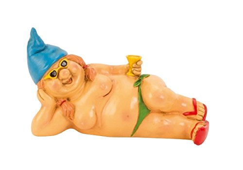 Dwarf Reclining Nude with Blue Hat 23 cm Figure FKK Garden Gnome Women