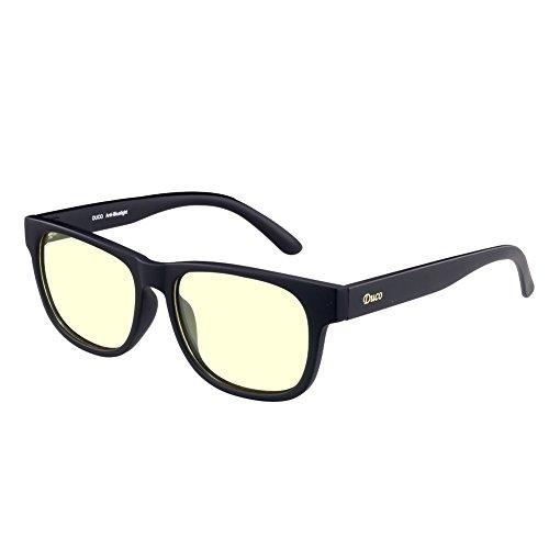 Duco Gamer Brille Computerbrille Blaulicht Blendschutz Anti-Erschöpfung UV Schutzbrille für Smartphone Computer oder Fernseherbildschirm 2142L (Schwarz)