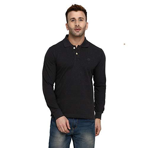 fe766f543b CHKOKKO Cotton Polo Neck Full Sleeves Plain T Shirt for Men ...
