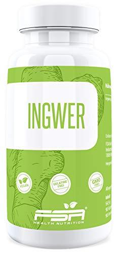 Ingwer hochdosiert 90 Kapseln, 500 mg Ingwerpulver je veganer Kapsel ohne Zusätze, Shoagol und Gingerol - von der Profisport-Marke FSA Nutrition, Hergestellt in Deutschland