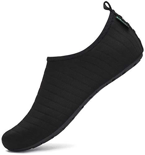SAGUARO Escarpines Hombre Mujer para Buceo Snorkel Surf Natación Piscina Vela Mares Rocas Río Zapatos para Agua Calzado Playa Zapatillas Deportes Acuáticos (033 Negro,40/41 EU)