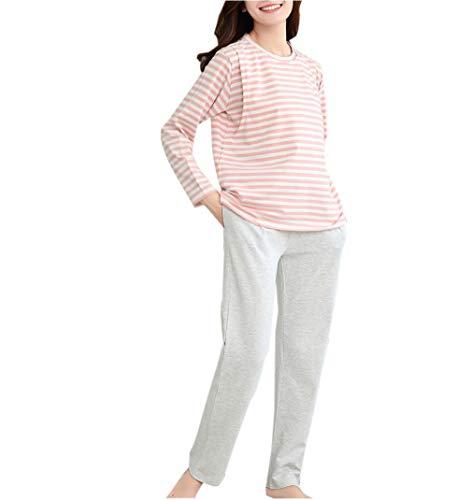 Le donne in stato di gravidanza pigiama a righe imposta a maniche lunghe maternità invernali vestiti di cura(rosa/m)