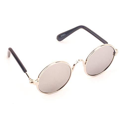 Liuxiaomiao Brille für Haustiere Coole stilvolle und lustige Nette pet Sonnenbrille Klassische Retro rund Metall Rahmen Sonnenbrille für Doggy Puppy cat Vom Tierarzt empfohlener Augenschutz