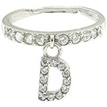 Anello con lettera D pendente a zirconi bianchi in argento 925