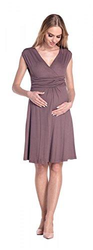 Happy Mama Damen Umstandskleid Ausgestellter Schnitt Sommerkleid Gr. 36-46 256p Cappuccino