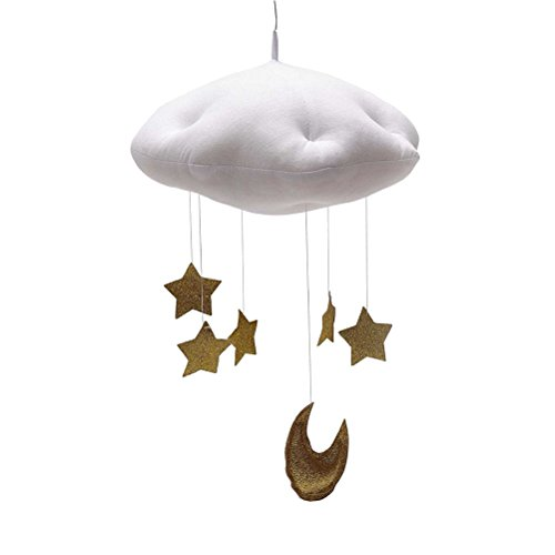 Amosfun Cloud Star Hanging Ornament DIY Pendant for Baby Shower Kids Room Decoration Wedding Christmas Birthday Decoration Favors (White Clouds and Golden Stars)
