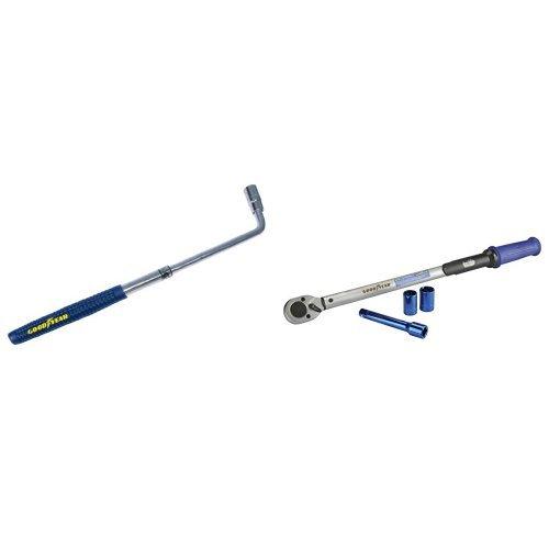 Preisvergleich Produktbild Goodyear 75521 Radmutternschlüssel und Goodyear Drehmomentschlüssel 75522 Inkl. Verlängerung und Stecknüsse 17 mm und 19 mm