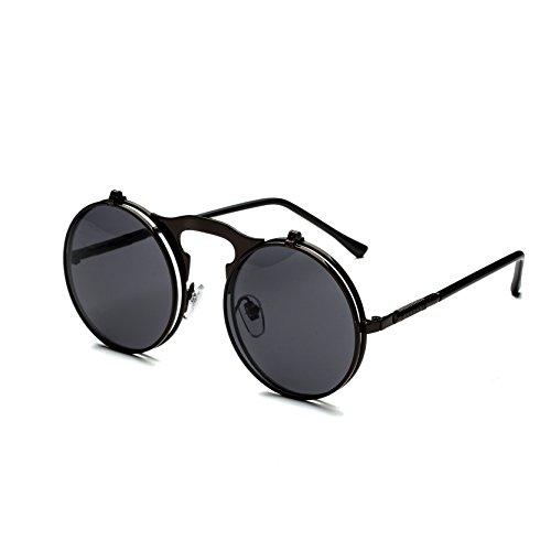 Dollger Herren Lennon Flip up Runde Sonnenbrille(Schwarze Linse+Schwarzrahmen)