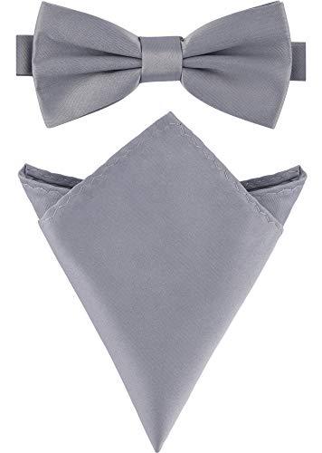Ladeheid Herren Schmale Fliege & Einstecktuch Set M/P (12cm x 6cm, 22cm x 22cm, Silber) (Schwarz Tie Bow Und Silber)