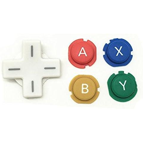 Meijunter ABXY Cross Press Key Button Kit Sostituzione ABXY Croce bottone Premere Tasto Pulsante parte di riparazione per Nintendo NEW 3DS Console - Abxy Pulsanti