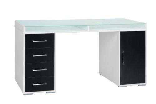 MAJA-Möbel 1672 3537 Schreib- und Computertisch, weiß uni - schwarz, Abmessungen BxHxT: 150 x 77 x 67 cm