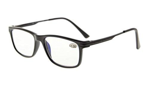 Eyekepper tr90 telaio metallo primavera braccia noline bifocale progressiva multifocus occhiali 3 livelli visione lettura occhiali anti abbagliamento computer lettori (nero +1.50)