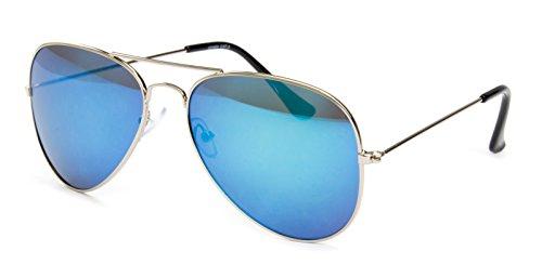 Pilotenbrille Fliegerbrille Classic Look - Silber Blau Verspiegelt Sonnenbrille Nerd Brille