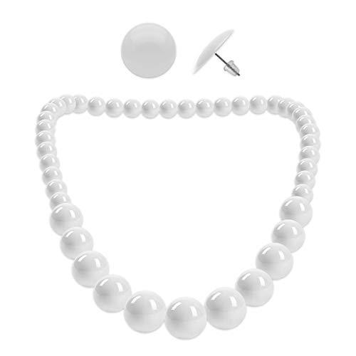 Soul-Cats® 1 Perlenkette + 1 Paar Ohrstecker rund SET, Farbe: weiß (50er Jahre Ohrringe)