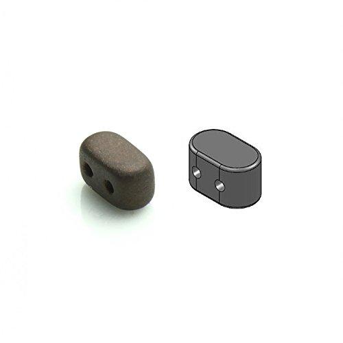 50pcs 2,5x5,5mm Ios par Puca Beads - Ceco Perle pressate di vetro rettangolare, con due fori, Opaque Dark Brown Matte (Jet Bronze Matte)