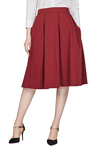 Urban GoCo Women's Flared A Line Skirt Pleated Midi Skirt With Pockets