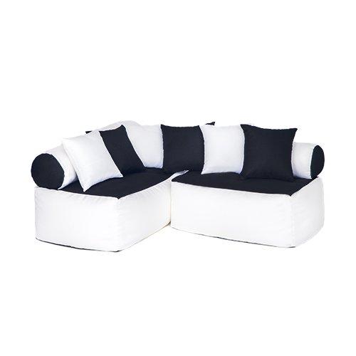 Kinder Möbel-sitzsack Ecke Sofa mit Kissen Lesen Sitzen, Erhältlich in 4 Farbe Kombinationen - Schwarz/weiß - 3