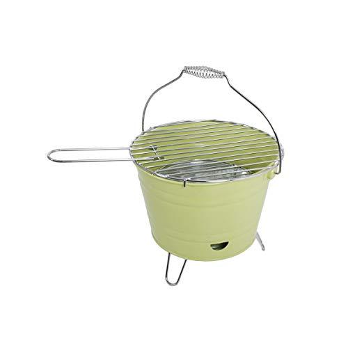 Unbekannt VARILANDO® Pfiffiger Eimergrill aus Stahl in lindgrün Eimer-Grill Grill-Eimer Kompakt-Grill Camping-Grill BBQ