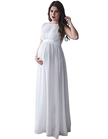 NiSeng Damen Schwanger Fotoshooting Fotografie Requisiten Frauen Lange Kleider Mutterschaft Fotografie Kleidung Maxikleid Weiß XL