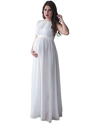 NiSeng Femme Enceintes Photography Props Robe Maternité Photographic Robe Grossesse Photographie Maternité Photo Shoot Robe Blanc 2XL
