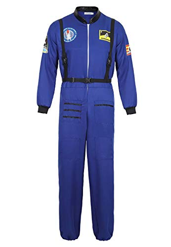 Josamogre Astronauten Kostüm Erwachsene Herren Kostüm Astronaut Weltraum Raumfahrer Halloween Cosplay Blau 2XL
