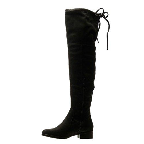 Angkorly - Scarpe Moda Stivali Alti Stivali - Scarponi cavalier flessibile donna nodo Tacco a blocco 3.5 CM Nero