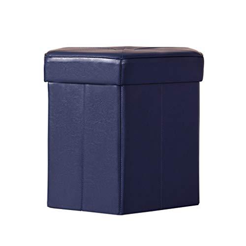 Rangement En Cuir Bouton Ottoman Petit Repose-Pied Repose-Pied Hexagone Maison Moderne Salon Chambre Tabouret Changement Banc De Chaussures (Couleur : Bleu)
