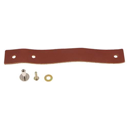 FLAMEER Kit de Bricolaje Manilla de Cuero para Tirador Vintage Armarios - marrón