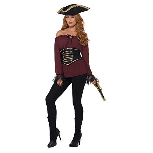 Amakando Piratenhemd für Damen / Burgund in Größe L (42/44) / Schickes Oberteil Piratenbraut geeignet zu Fasching & Karneval