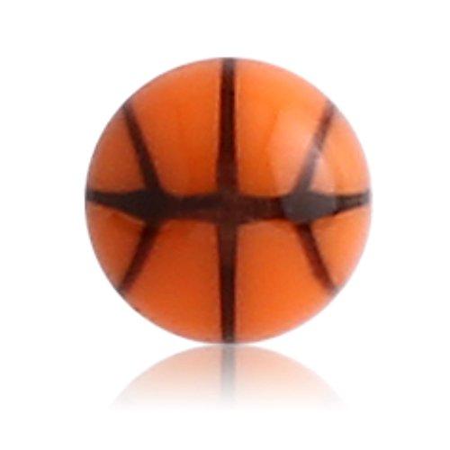eeddoo 1,6 mm - 8 mm - BN- Brown/Braun - Acryl - Schraubkugel - Basketball Design - 10er Pack (Piercing Schraubkugel Aufsatz Teil für Stäbe, Labrets, Barbells, Hufeisen, Bananen etc.)