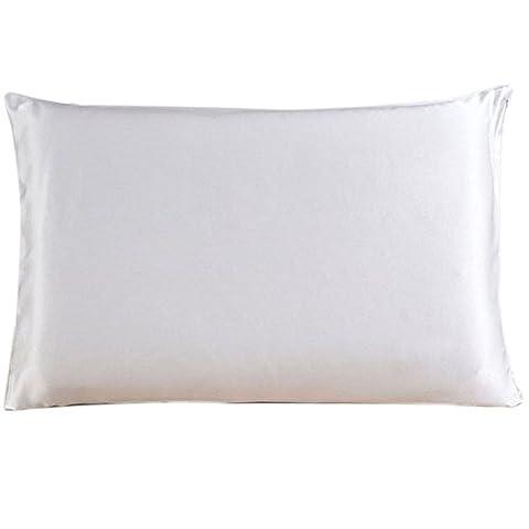 Emmet 25momme fabriqué en pure soie mûrier soie taie d'oreiller avec double côtés et fermeture éclair invisible (Reine Taille 50cm x 75cm)
