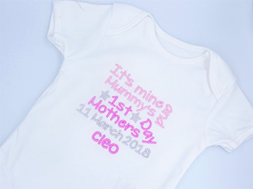 Personalised Embroidered Baby Girls Short Sleeved Bodysuit/Vest - IT'S MINE AND MUMMY'S - HAPPY 1ST MOTHERS DAY MUMMY - Girls Novelty Unique Gift & Keepsake **Add any Name**