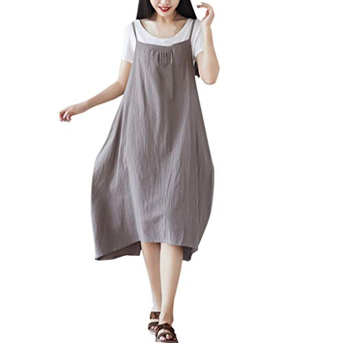 Amphia Damen Beiläufige Lose Kleid - Frauen Schürze Kleider, Baumwolle Leinen Square Cross Schürze Gartenarbeit Pinafore Dress -