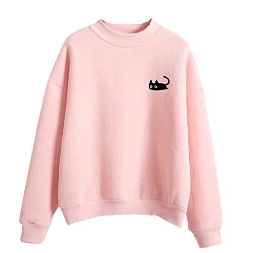 Ladies Cat Print Langarm Kapuzenpullover MYMYG Elegante Hemden -