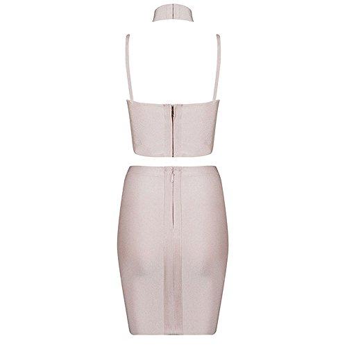 HLBandage 2 Stück Damen Riemchen Rückenfreie Kunstseide VerbandKleid Rosa
