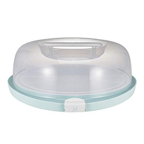 keeeper Tortenbehälter mit Schneiderillen und Servierplatte, BPA-freier Kunststoff, Flach, 38 x 37,5 x 13,5 cm, Emilio, Mintgrün