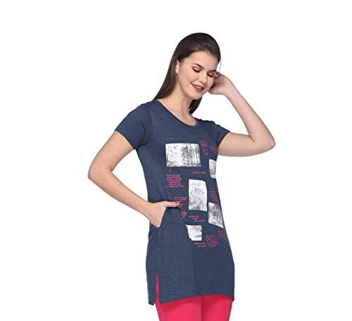 IN Love Women's Cotton T-Shirt (Melange Blue, 3XL)