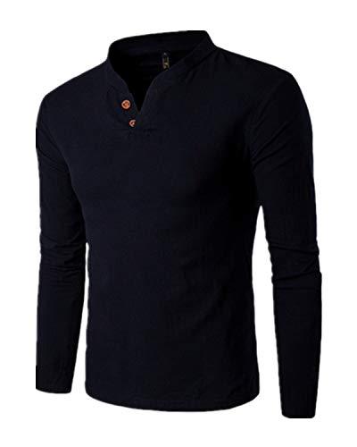 Sleeve V-neck Henley (MODCHOK Herren Shirt Langarm Shirt Henley Hemd Leinen T-Shirt Long Sleeve V-Ausschnitt 1 Schwarz L)