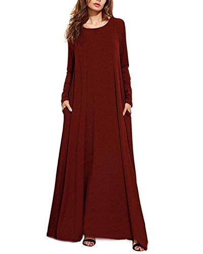 Kidsform Damen Maxi Kleid Lange Langärmlige Oversize Rundhals Dress Kleid mit Taschen Wein Rot EU 36/Etikettgröße S (Formale Rot Langarm Kleid)