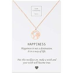 LUUK LIFESTYLE Collar de acero inoxidable con colgante de mapa del mundo l y cita Happiness, joya de mujer, tarjeta de regalo, amuleto, rosé